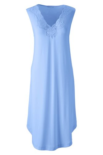 Women's Regular Plain Modal Lace V-neck Sleeveless Nightgown