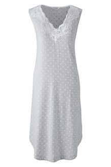 Ärmelloses, gemustertes Jersey Nachthemd mit Spitzendetails für Damen