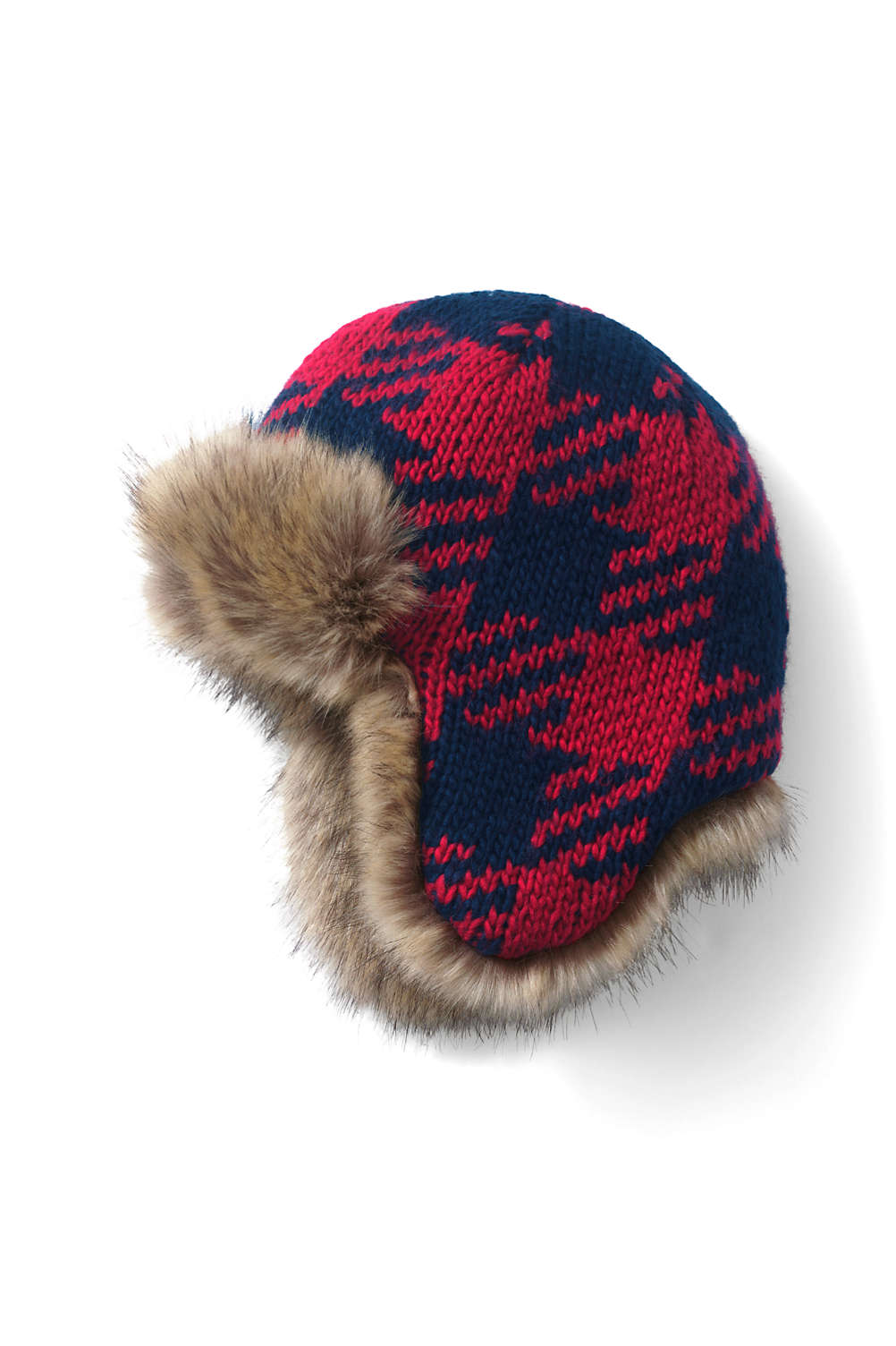 Kids Chunky Knit Trapper Hat from Lands  End b82bf356aec