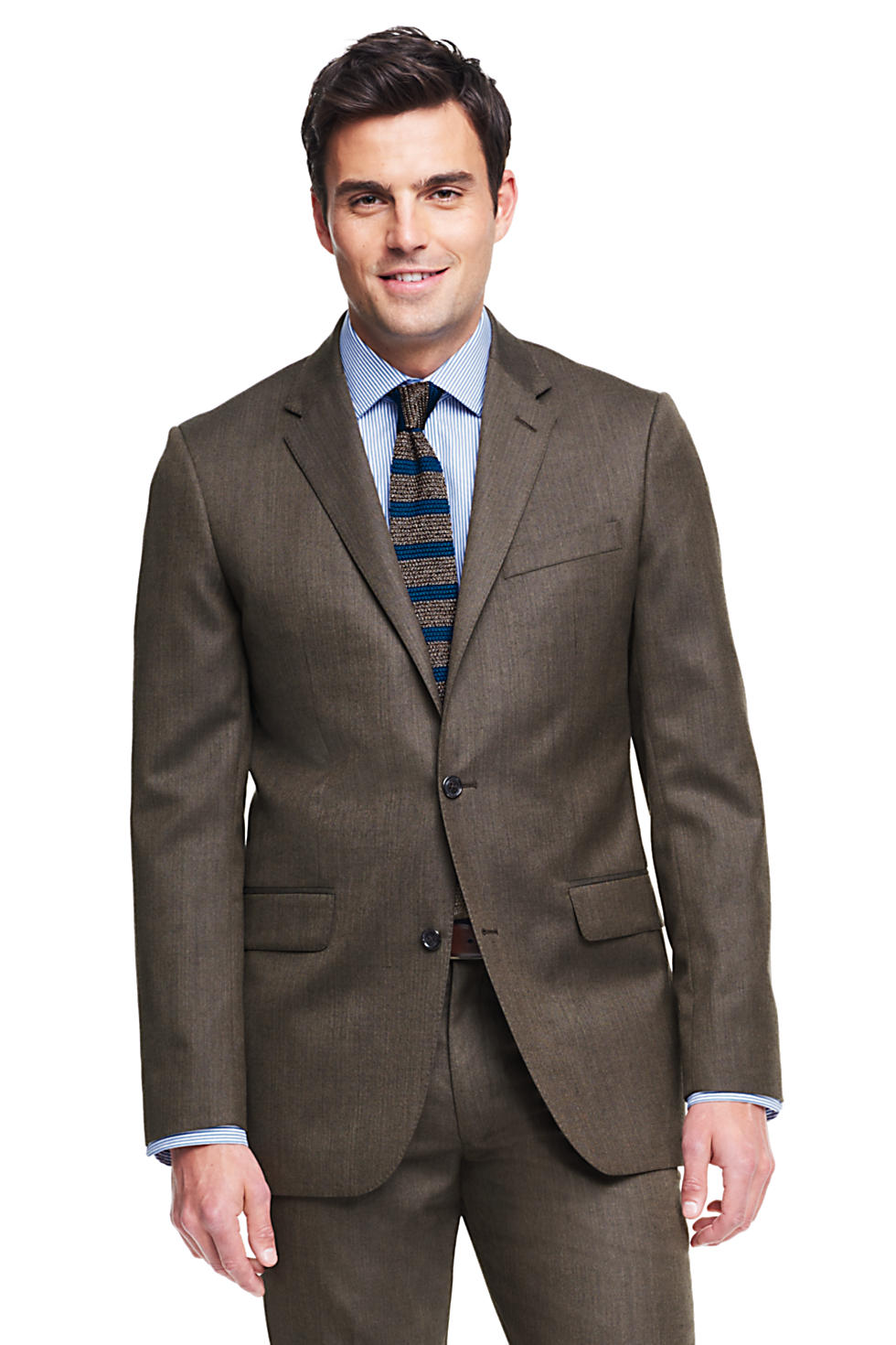 Lands' End Men's Tailored Fit Wool Year'rounder Suit Jacket