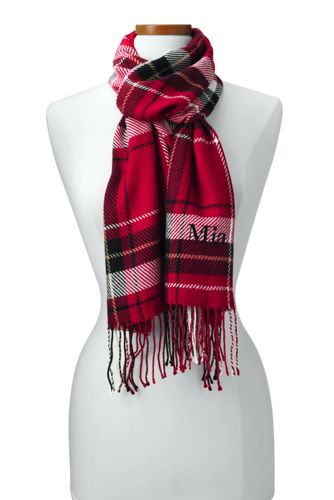Womens CashTouch Plaid Scarf - RED Lands End