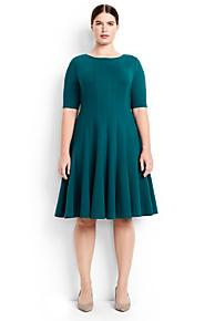 Womens Cold Shoulder A-line Ponte Dress - 10 -12 - BLACK Lands End Lzvo18q0a