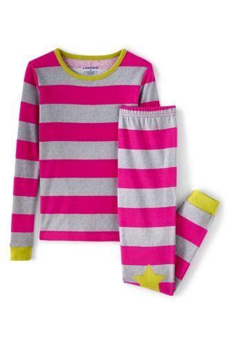 Schmal geschnittenes Pyjamaset Gestreift für Mädchen