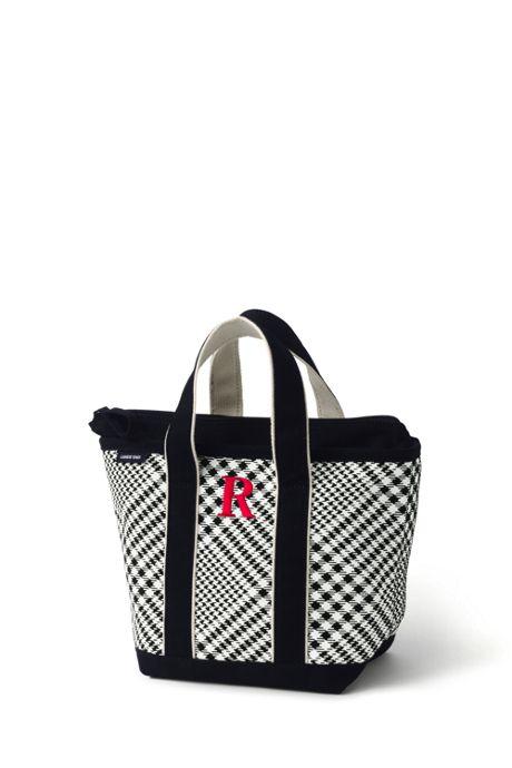 Small Print Zip Top Canvas Tote Bag