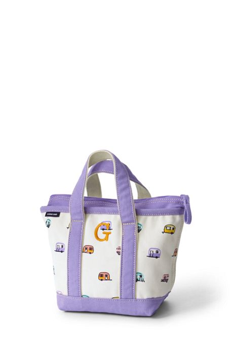 Small Print Zip Top Canvas Tote Bag