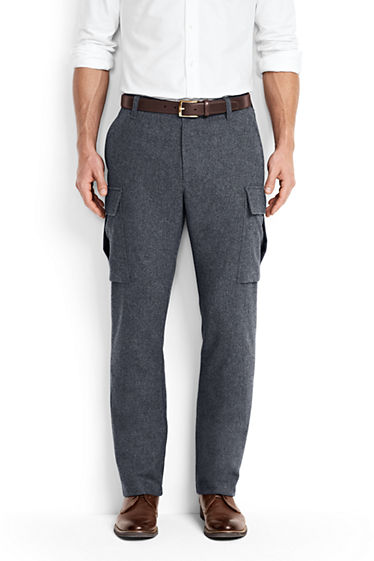 Men's Utility Fit Wool Cargo Pants from Lands' End