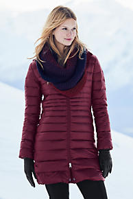 Lands End Lightweight Down Womens Coat (Black / Light Truffle / Burgundy)