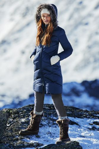 Down Jackets that Still Look Glam; Land's End navy
