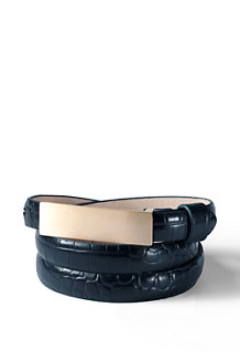 Women's Leather Embossed Crocodile Pattern Slim Belt