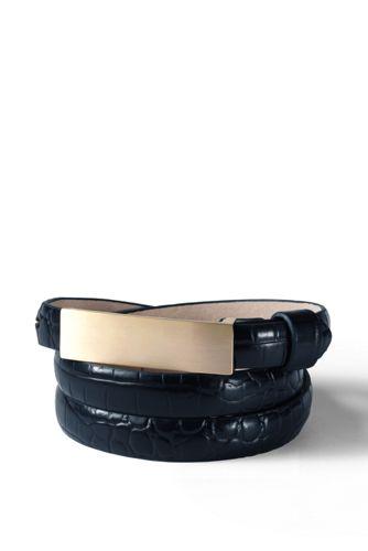 Women's Leather Embossed Crocodile Pattern Slim Belt