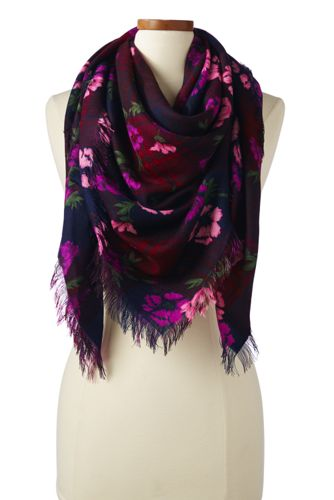 Women's Plaid Floral Wool Scarf