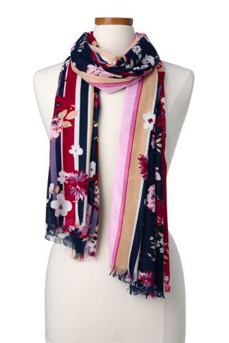 Floraler Maxi-Schal mit Streifenkanten für Damen