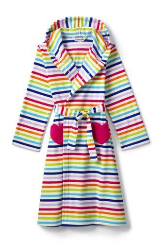 Gestreifter Fleece-Bademantel für Mädchen