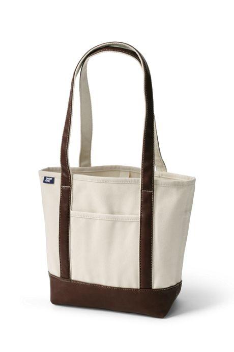 Natural Metallic Open Top Long Handle Canvas Tote Bag