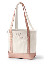 Medium Natural Rose Gold Open Top Long Handle Canvas Tote Bag