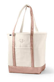 Large Natural Rose Gold Open Top Long Handle Canvas Tote Bag