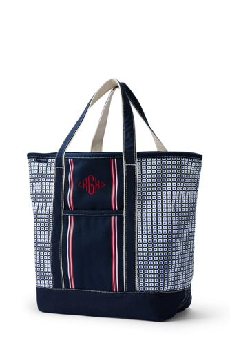 Placed Stripe Large Open Top Tote Bag