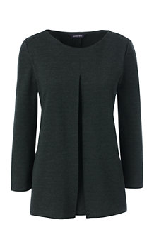 Women's Ponte 3Q Pleated Front Top