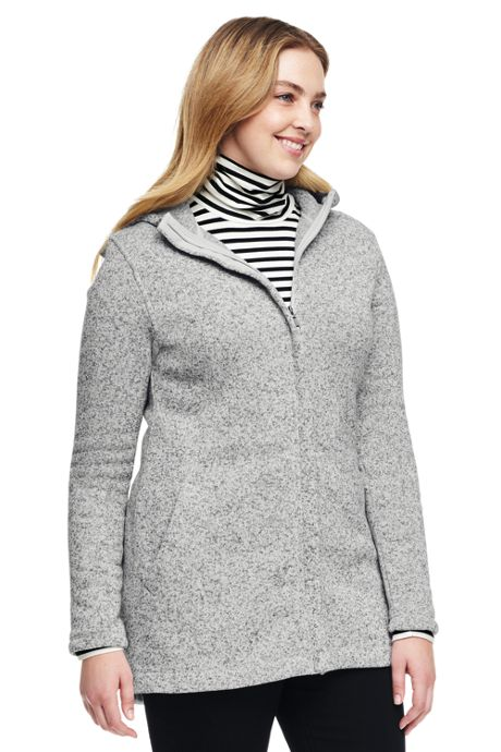 Women's Plus Size Petite Hooded Sweater Fleece Coat