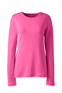 Women's Plus Size All Cotton Long Sleeve Crewneck T-Shirt, Front