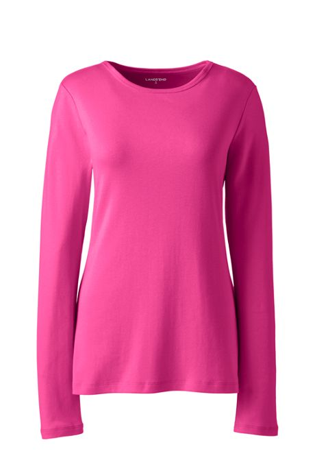 Women's Plus Size All Cotton Long Sleeve Crewneck T-Shirt