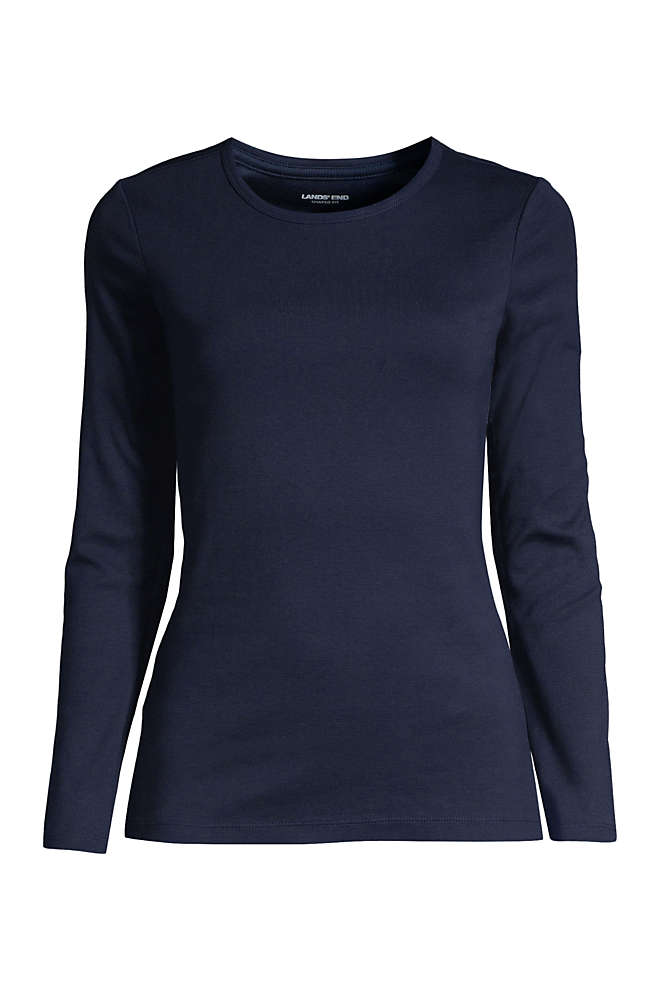 Women's Plus Size Petite All Cotton Long Sleeve Crewneck T-Shirt, Front