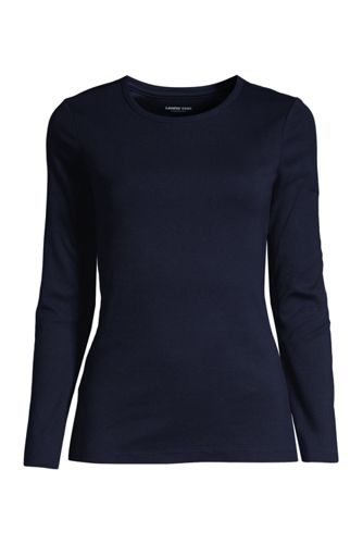 Women's Long Sleeve Cotton Rib Crew Neck T-shirt