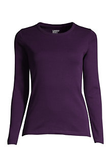 Women's Long Sleeve Cotton Rib Crew Neck Tee