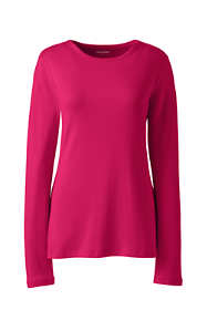 Women's Plus Size Petite All Cotton Long Sleeve Crewneck T-Shirt
