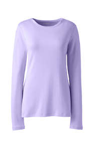 Women's Plus Size All Cotton Rib Knit Crewneck Long Sleeve T-shirt