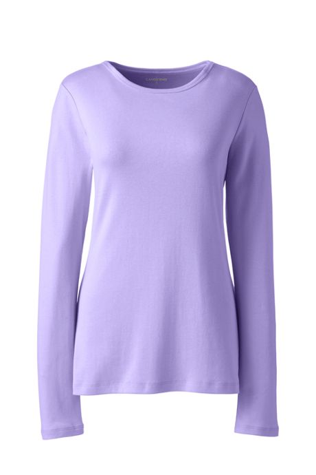 Women's Plus Size Petite All Cotton Rib Knit Crewneck Long Sleeve T-shirt