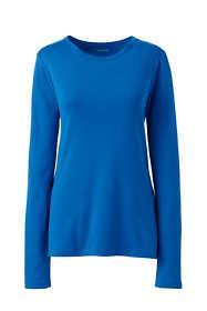 Women's Plus Size Petite All Cotton Long Sleeve T-Shirt - Rib Knit Crewneck