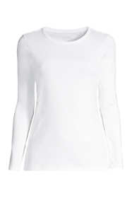 Women's Petite All Cotton Long Sleeve T-Shirt - Rib Knit Crewneck