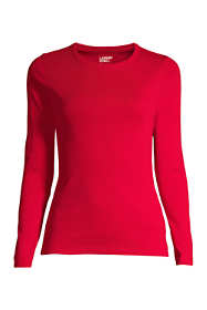 Women's Plus Size Petite All Cotton Long Sleeve T-Shirt - Rib Knit Crewneck