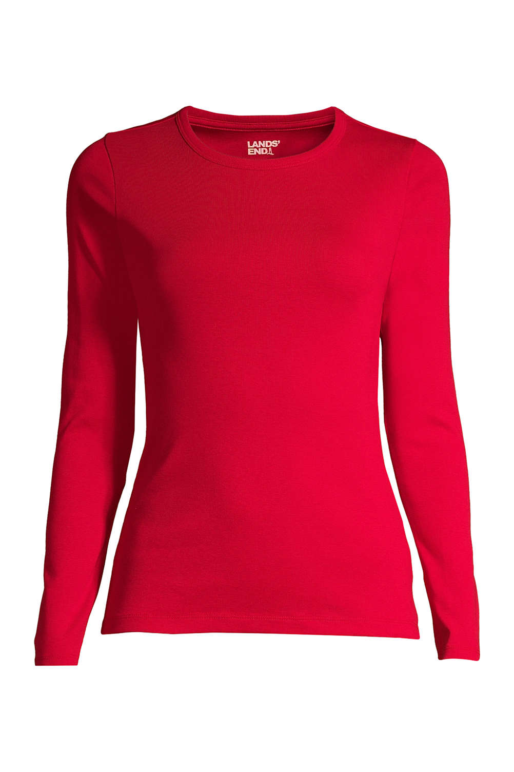 28c82c7d Women's Plus Size All Cotton Long Sleeve T-Shirt - Rib Knit Crewneck