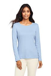 Women's All Cotton Long Sleeve T-Shirt - Rib Knit Crewneck