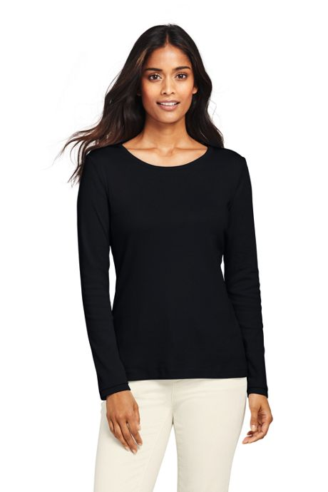 Women's Tall All Cotton Long Sleeve T-Shirt - Rib Knit Crewneck