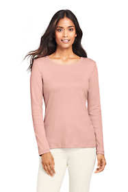Women's Petite All Cotton Long Sleeve Crewneck T-Shirt