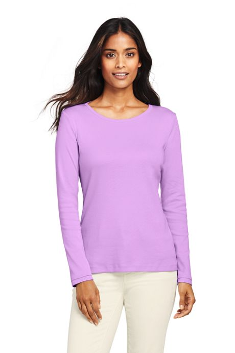 Women's Tall All Cotton Rib Knit Crewneck Long Sleeve T-shirt