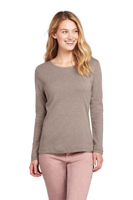 Women's Petite Shaped Long Sleeve T-shirt Cotton Crewneck