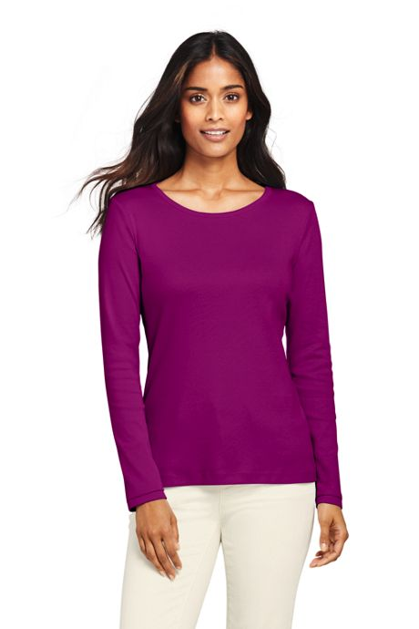 Women's All Cotton Long Sleeve T-Shirt - Rib Knit Crewneck
