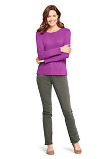 Women's All Cotton Long Sleeve Crewneck T-Shirt , Unknown