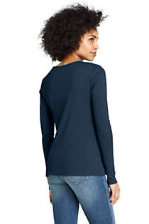 Women's All Cotton Long Sleeve Crewneck T-Shirt , Back