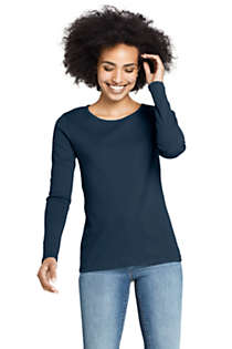 Women's All Cotton Long Sleeve Crewneck T-Shirt , Front