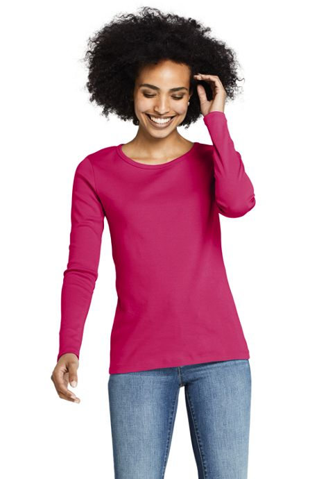 Women's Tall All Cotton Long Sleeve Crewneck T-Shirt