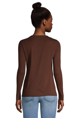Women's Petite All Cotton Long Sleeve Crewneck T-Shirt