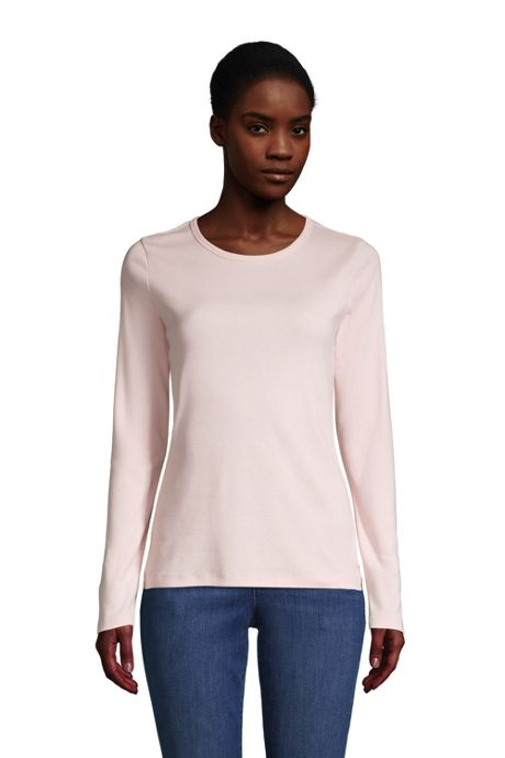 Women's All Cotton Long Sleeve Crewneck T-Shirt