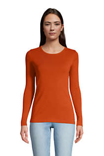 Lands End Womens All Cotton Long Sleeve V-Neck T-Shirt