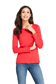 3a54804ef8 Women s All Cotton Long Sleeve T-Shirt - Rib Knit Crewneck