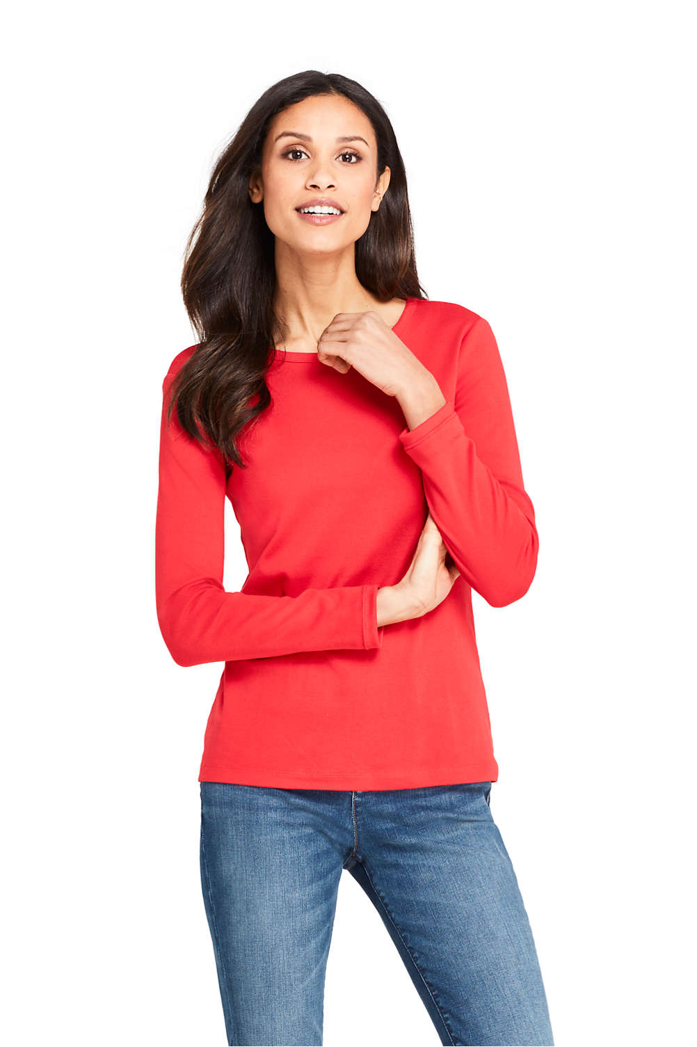 40553f9a3a1 Women s All Cotton Long Sleeve T-Shirt - Rib Knit Crewneck from ...